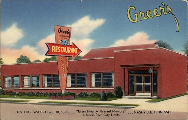 Greer's Restaurant Every Meal is a Pleasant Memory Nashville Tennessee