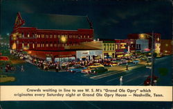"Crowds waiting in line to see W. S. M's ""Grand Ole Opry"" which originates every Saturday night"