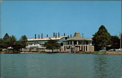 View from Lake of Visitors Center with Factory Building in Rear