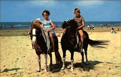 Children on Ponies at the Beach Postcard