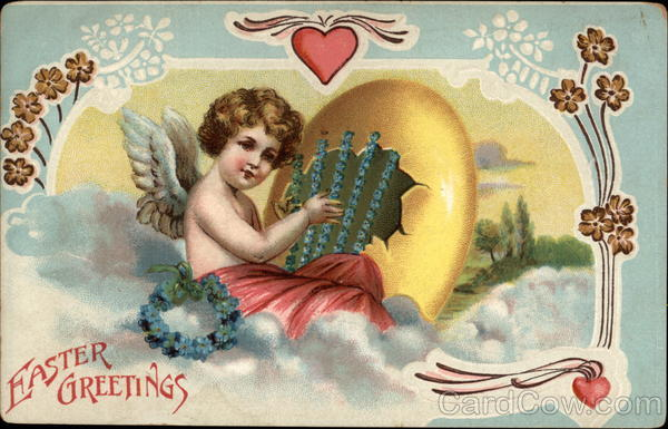 A Cherub Playing Music With golden Egg With Angels