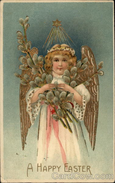 A Pretty Angel With Easter Offerings With Angels
