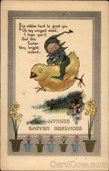 A Child Fairy Riding a Large Chick With Fairies