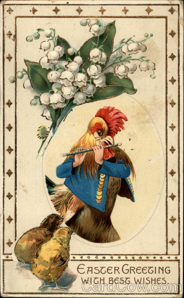 Rooster playing the Flute With Chicks