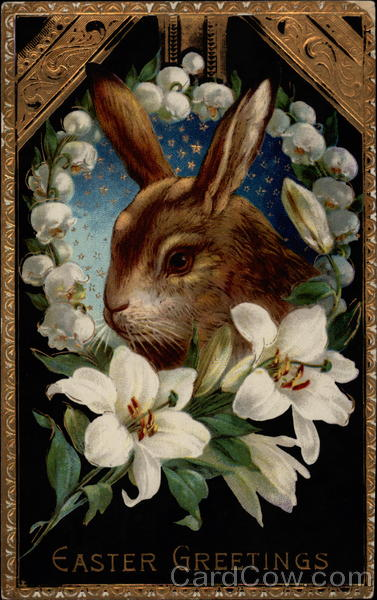 A Bright-Eyed Bunny Surrounded by Lilies With Bunnies