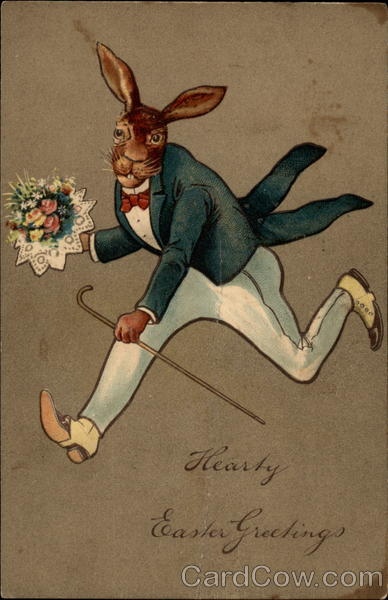 A Gentleman Rabbit Running Flowers
