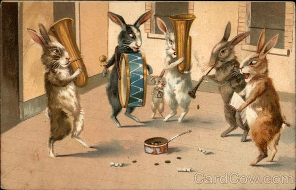 Rabbits playing musical instruments Maurice Boulanger