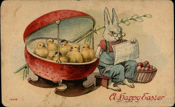 Rabbit Rocking Chicks in an Egg Shaped Cradle With Bunnies