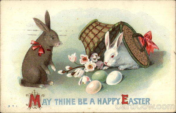 Black and Tan Rabbit Easter Greetings With Bunnies