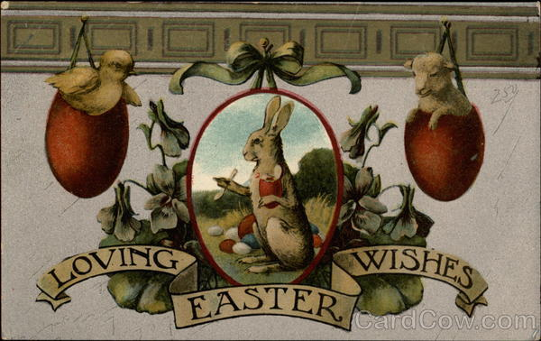 Rabbit, goat and birds with Easter Eggs With Bunnies
