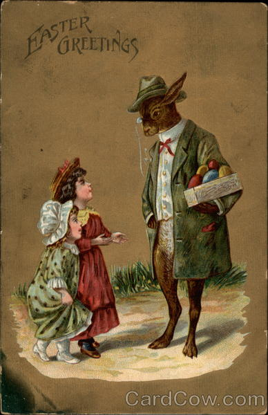 A Gentleman Rabbit Talking With Little Girls With Children