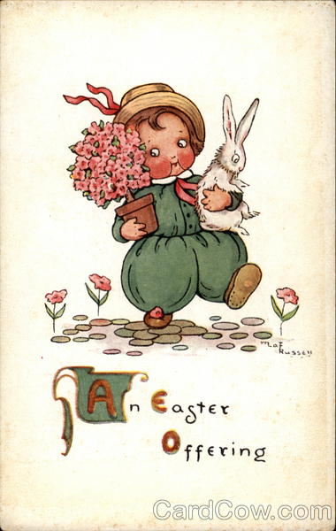 A Child Carrying A Bunny And Flowers With Children