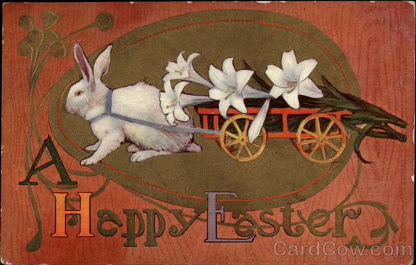 Rabbit pulling cart filled with lilies With Bunnies