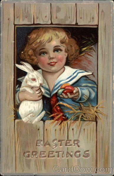 A child Holding a Bunny and Eggs With Children