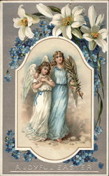 Two Angels Framed by Flowers