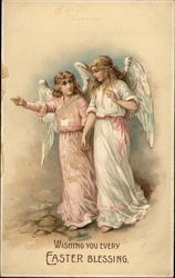 Two Angels Dressed in Pink and White