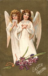 Two Young Angels With Flowers