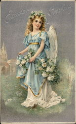 Pretty Angel in Blue Dress Bedecked With Flowers