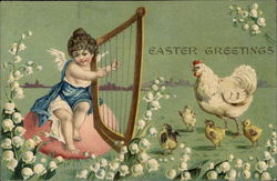 An Angel Plays the Harp For Chicks and Momma Hen