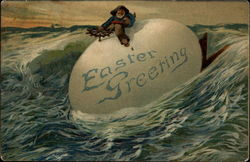A Sea Captain Riding An Egg On The Ocean