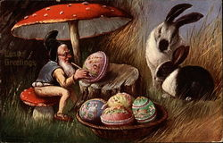 Gnome under a mushroom painting Easter eggs while bunnies watch
