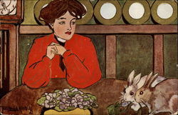 Woman looking at two bunnies