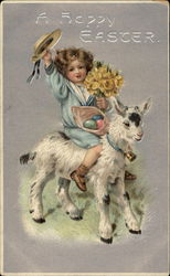 A Child Riding a Lamb