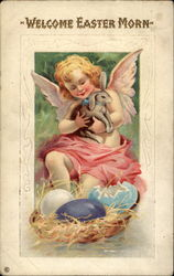 Angel Holds Bunny by a Nest With Eggs