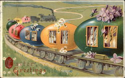 Train cars made of eggs with bunnies looking out