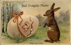 Rabbit With Giant Egg Decorated With Chick and Pussy Willow