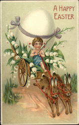 Bunnies Pull Cart With Egg and Lily of the Valley