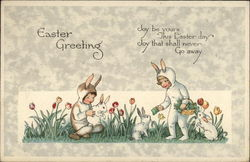 Children Dressed as Rabbits Feeding Bunnies