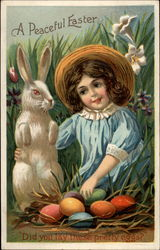 A Girl Playing With a Bunny And Admiring Eggs