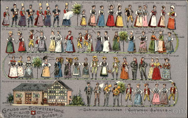 Swiss Costumes Switzerland Boustrophedon Cards