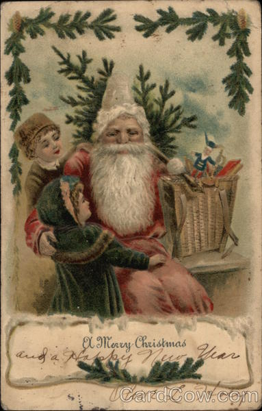 Embossed Santa With Two Children Santa Claus