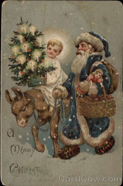 A Merry Christmas with Blue Santa and Child Santa Claus