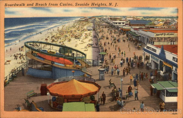 Boardwalk and Beach from Casino Seaside Heights New Jersey