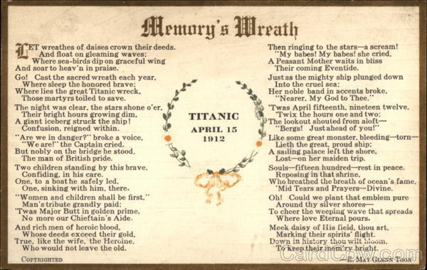 Titanic Day April 15, 1913 - Memory's Wreath Boats, Ships