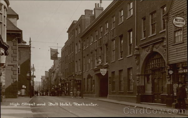 High Street and Bull Hotel Rochester England Kent