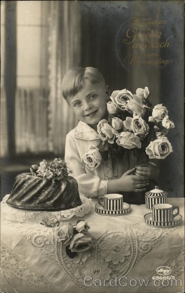 Boy at Tea Table with Bunch of Roses Boys Art Deco