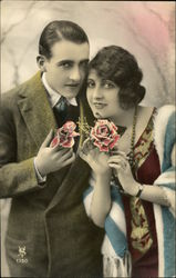 Art Deco Couple with Roses