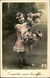 Young Girl in Pink Dress with Flowers