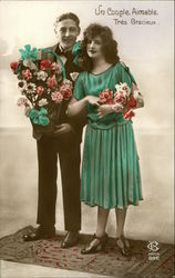 Art Deco Couple with Flowers