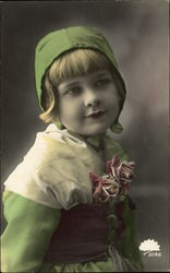 Girl in Green Dress and Hat