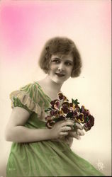 Young Woman with Pansies