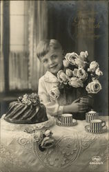 Boy at Tea Table with Bunch of Roses