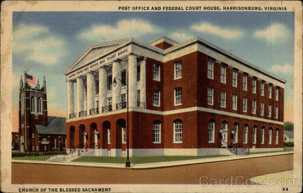 Post Office and Federal Court House, Church of the Blessed Sacrament Harrisonburg Virginia