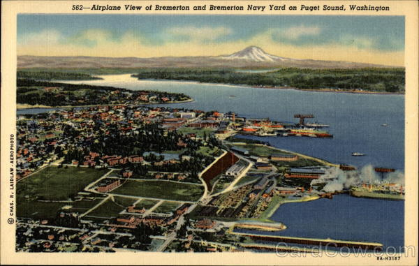 Airplane View of Bremerton and Bremerton Navy Yard on Puget Sound Washington