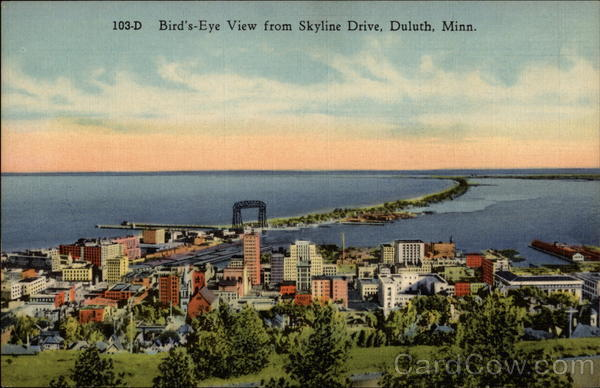 Bird's-Eye View from Skyline Drive Duluth Minnesota
