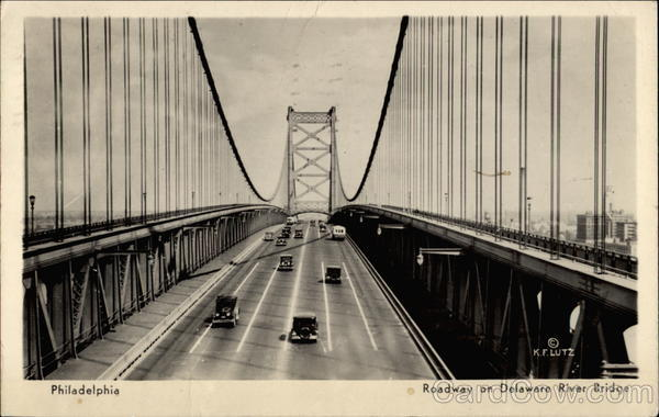 Roadway on Delaware River Bridge Philadelphia Pennsylvania